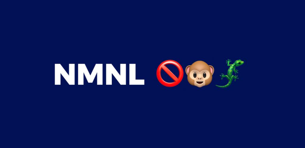 NMNL y tres emojis: prohibido, mono, lagarto