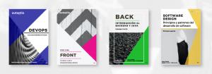 Portada de las 4 guías e Onboarding: DevOps. Front, Back y Software design