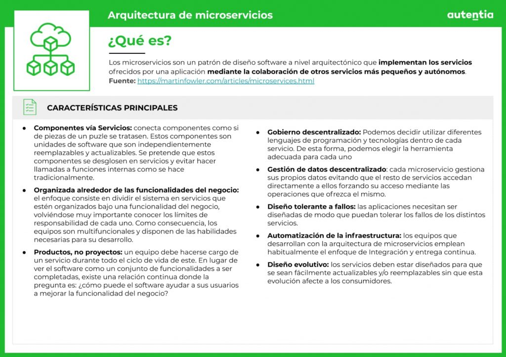 Ficha resumen de lo que es la arquitectura de microservicios