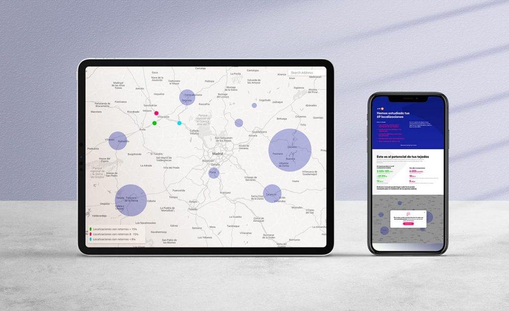 Tablet y movil con pantallas donde se muestran los estudios de las localizaciones y tejados con ei Energía independiente