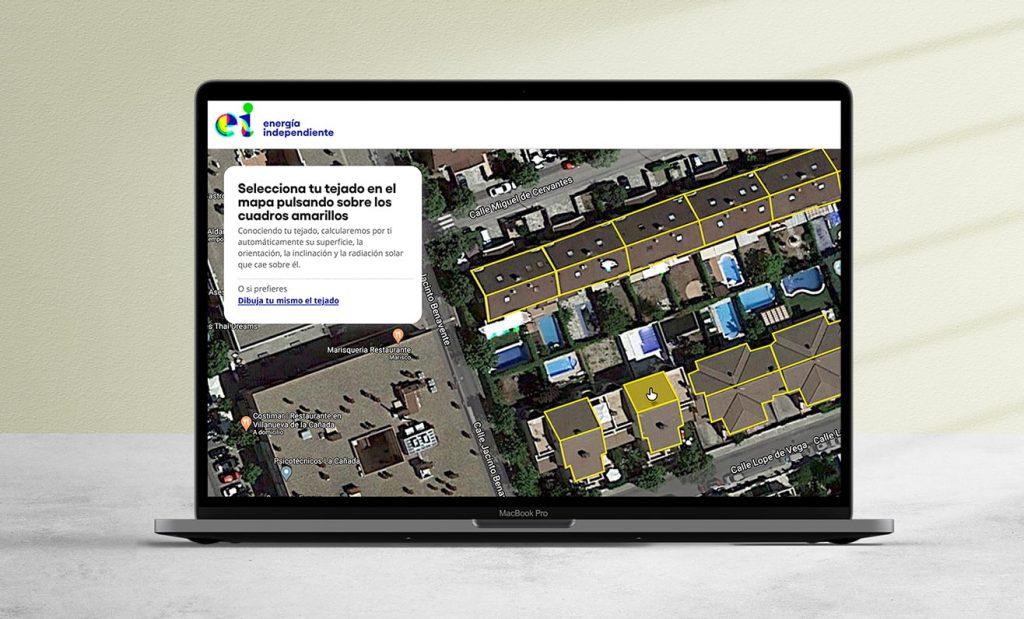 Portátil con pantalla para la selección de tu tejado