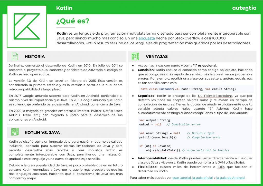Ficha informativa de Kotlin: qué es, historia, kotlin vs. java