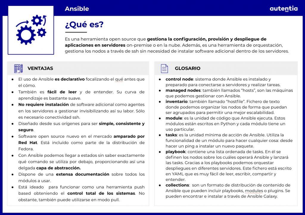 Ficha explicativa de Ansible que recoge su definición, ventajas y un glosario